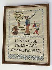 Vtg GRANDPA NEEDLE POINT Framed Sampler Cross Stitch Folk Art Country Fishing