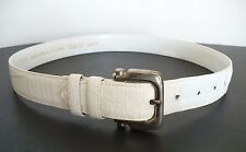 Cipriani Italian Alligator Textured Calfskin White Medium Size Woman's Belt 6963