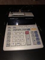 SHARP EL-1801PIII 12 Digit 2 Color Printing Calculator Tested Working No Paper