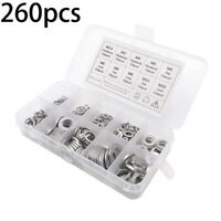 260pcs Set Appliances Spring Washer Corrosion-Resistant Silver Steel Fasteners