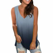 Womens Sleeveless V Neck Tank Tops Ladies Casual Gradient Summer Vest Shirts