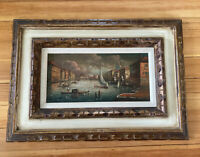 Vintage Framed Oil on Canvas Painting Signed by Artists Boats on the Canal