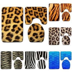 Animal Skin Leopard Tiger Pattern Bath Mat Toilet Cover Carpet Bathroom Rug Set