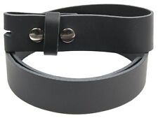 SNAP ON GENUINE LEATHER MEN'S UNISEX BLACK STRAP BELT BUCKLE BELTS 34 CEINTURE