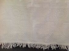 Vintage Chenille Bedspread White Fringed Cottage Chic or Cutter Full Size
