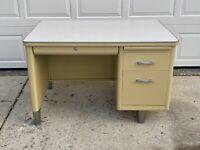 Vintage Invincible Furniture Co. Industrial Yellow & Chrome Metal Tanker Desk