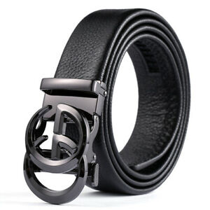 120cm Genuine Leather Dress Belt for Men with Automatic Buckle by Trim to Fit