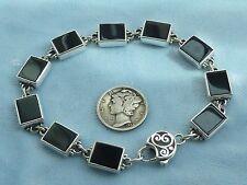 """Vintage Sterling Link Bracelet, 10 X 8mm Black Onyx Stone, 7 & 3/4"""" Konder #380"""