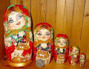 Russian Nesting Doll Matryoshka 5 Piece Pyrography MATT Cats by Artist MAMAYEVA