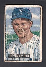 Whitey Ford 1951 Bowman Baseball Rookie card #1 NY Yankees GOOD
