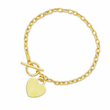 """7.5"""" Engravable Heart Tag Oval Charm Bracelet Real 14K Yellow Gold Toggle Clasp"""