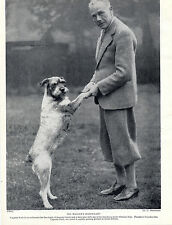 SCHNAUZER AND GENTLEMAN OWNER OLD ORIGINAL DOG PRINT FROM 1934