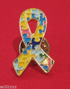 "Autism Awareness Colourful Jigsaw Ribbon Ribbon Brooch / Tac Pin 1"" BN"