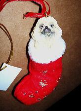 Pekingese Stocking Dog Holiday Ornament Christmas