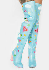 Irregular Choice 'Finders Keepers' (A) Blue / Pink Thigh High Embroidered Boots