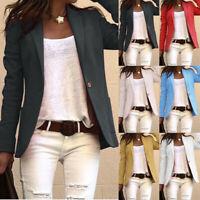 Women Long Sleeve Blazer Suit Coat Work Jacket Formal Business Outwear Tops New
