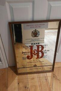 VTG J&B Rare Scotch Whiskey Mirror Bar Man Cave Advertising  Pub Sign/mirror