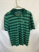 Masters Collection Men's Golf Polo Shirt Size Medium  Green Striped Pima Cotton