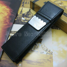 Crocodile 2pcs pen fitted black PU leather holster