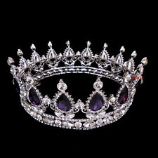 5cm High Purple Luxury Crystal Silver King Crown Wedding Prom Party Pageant