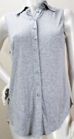 BEBE Womens Size S Heather Gray Sleeveless Tunic Button Front Top Blouse Tank