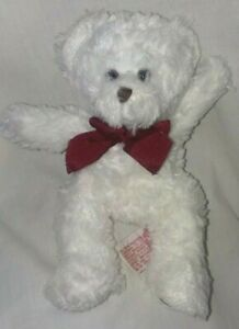 PLUSH White TEDDY BEAR BEANBAG LOVEY RUSS THOUGHTS OF LOVE VALENTINES