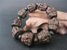Chinese hand carved agalloch eaglewood wood Bracelet Buddha four face design