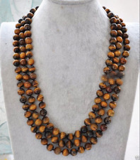 Fashion Natural 8mm Yellow Tiger's Eye Gemstone Round Beads Necklace 51'' AAA