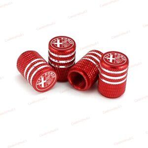 4x Red Universal Car Logo Accessories Wheel Tyre Tire Valve Caps For Alfa Romeo