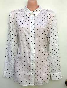 TRENERY White with Black Polka Dots Long Sleeve Collared Button Shirt sz M / 12