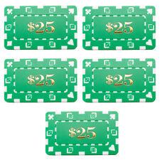 5 PCS $25 Green Rectangular 32 Gram Poker Plaques Square Chips
