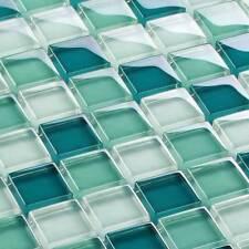 Mosaicos DE VIDRIO AZULEJOS Mosaicos cristal claro turquesa 23 x 23 x 8mm