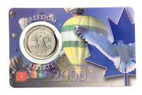 2000 Canada 25 Twenty Five Cent Quarter Freedom Liberté Coin Card RCM H203