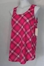 NEW Womens Soft Tank Top Pajamas Size Small Pink Plaid Sleep Shirt PJs Lounge