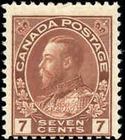 Mint H Canada 7c 1911-25 F Scott #114 King George V Admiral Issue Stamp