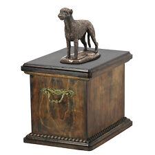 Holz Schatulle Irischer Wolfshund Gedenken Urn Für Hunde Asche, Mit Statue. (34)