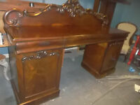 Antique Victorian Mahogany English Double Pedestal Server Sideboard or Buffet.