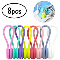 8Pcs Magnetic Cable Cord Wire Management Organizer Reusable Silicone Magnet Clip