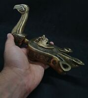 Beautiful Old Oil lamp Bronze And Silver In Shape Of Bird Amazing Art #G76