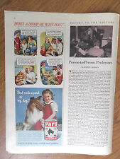 1948 Pard Swift's Dog Food Ad Collie Dog Duke's A Droop He Won't Play