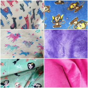"""Cuddle Fleece Fabric 56""""W craft Sewing Unicorn Monkey Llama Mermaid Pink"""