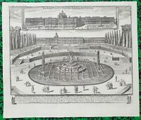 XVIII ème - Superbe Vue Fontaine Latona & Château de Versailles par  Bontes 1739