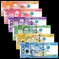 Philippines 6 PCS, 20,50,100,200,500,1000 Peso,UNC