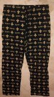 New Orleans Saints Lounge Pants Pajama Bottoms Large Full Logos Black NFL