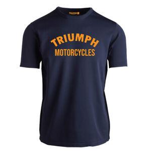 Genuine Official Triumph Classic Motorcycle Motorbike Chopper Logo Navy T-Shirt