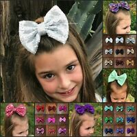 1977c1da3 Hair bows 5 inch sequin sparkle on clip baby toddler girls 31 colors baby  bows