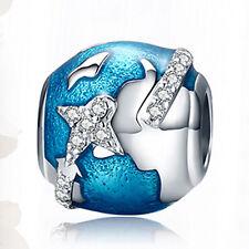 GENUINE STERLING SILVER I Love Travel & The World CHARM For European Bracelet