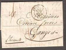 1832 folded letter cover France Lyon to Messrs Carriere Freres Ganges L'Hérault