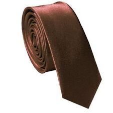 Classic Skinny Slim Tie Solid Color Men's Polyester  Woven Necktie  Brown