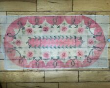 Shillcraft Vtg Floral Latch Hook Rug Kit Wool Grey Pink Read About Color Issues